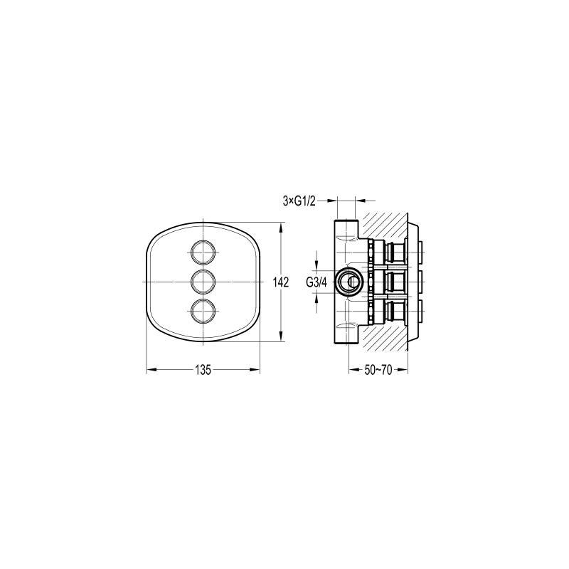 Flova Fusion GoClick 3 Outlet Diverter Valve Only