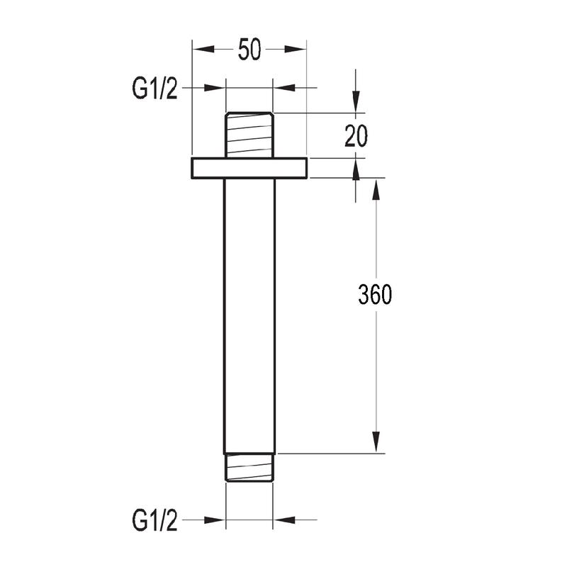Flova Str8 Ceiling Mounted Shower Arm 360mm