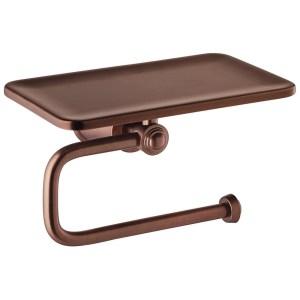 Flova Liberty Toilet Roll Holder with Shelf Bronze