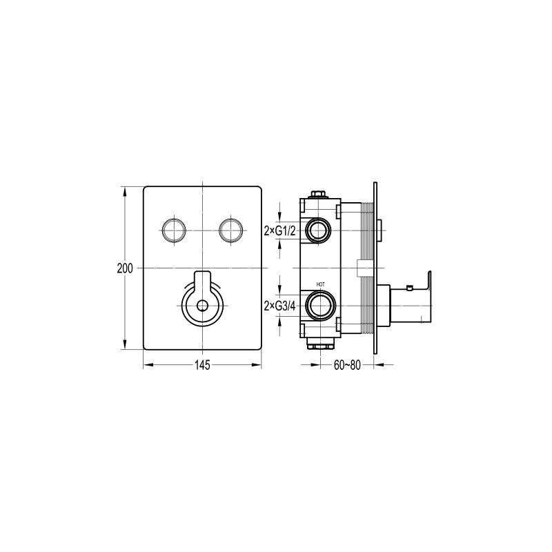 Flova Spring Concealed Thermostatic GoClick 2 Outlet Trim Kit