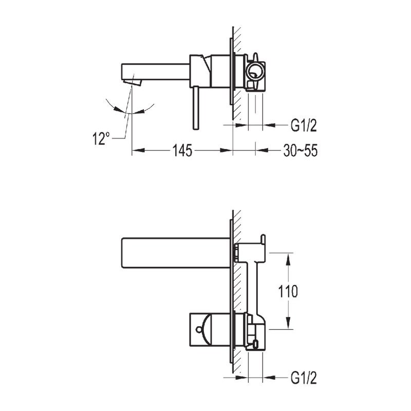 Flova Str8 Wall Mounted Single Lever Basin Mixer with Waste