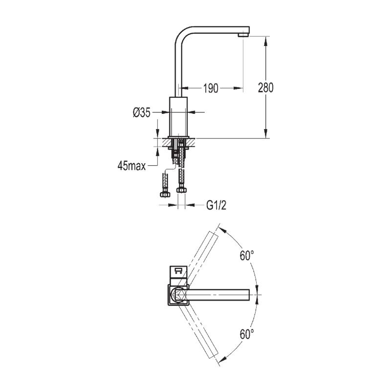 Flova Str8 Single Lever Swivel Spout Monobloc Kitchen Mixer