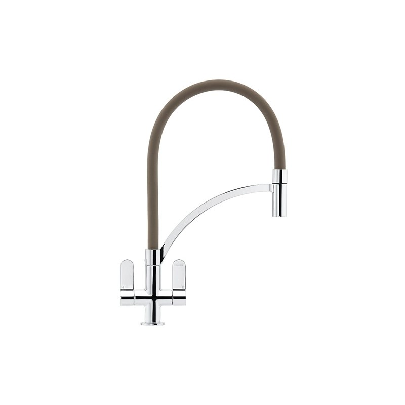 Franke Zelus Kitchen Sink Mixer with Pull Out Nozzle Chrome-Fawn
