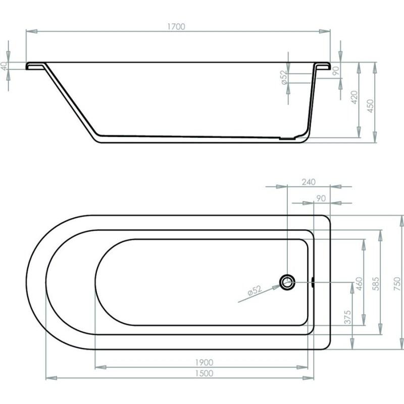 Aquabathe Kilnsey 1700 x 750mm Freestanding Bath