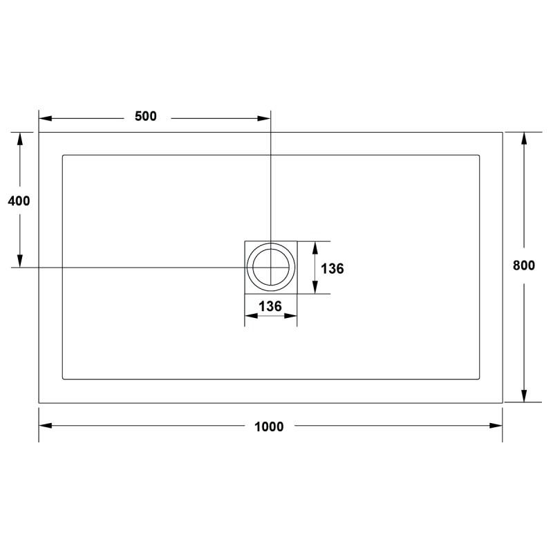 Aquaglass 1000x800mm White Slate Effect Shower Tray
