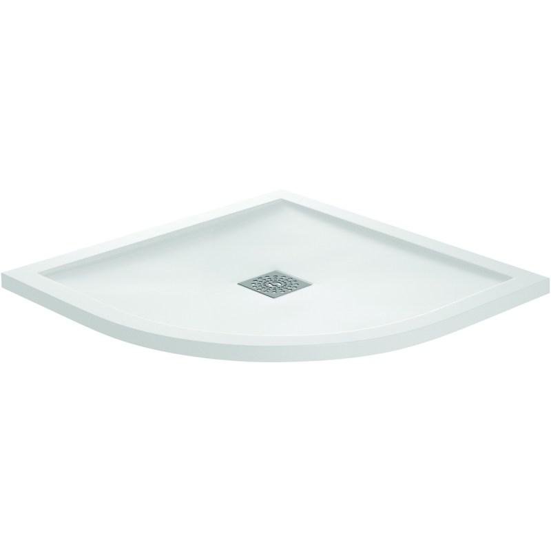 Aquaglass 800x800mm White Slate Effect Quadrant Shower Tray