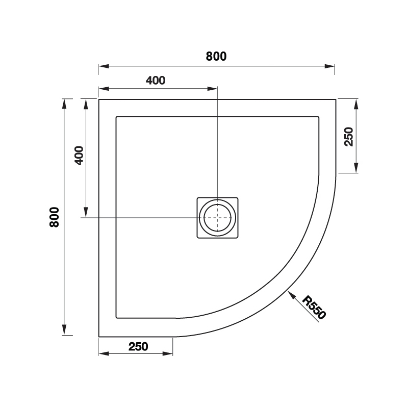 Aquaglass 800x800mm Black Slate Effect Quadrant Shower Tray