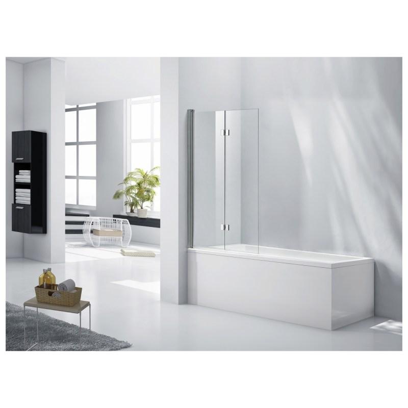 Aquaglass 6mm 2 Panel Bath Screen with Hinged Flipper Panel