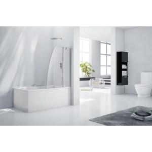 Aquaglass  6mm Crescent Bath Screen 1500 x 1200mm