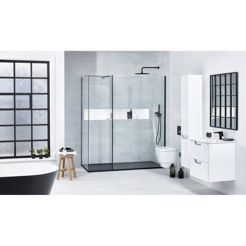 Aquaglass  Black L Shape Walk-In Shower Enclosure 900mm
