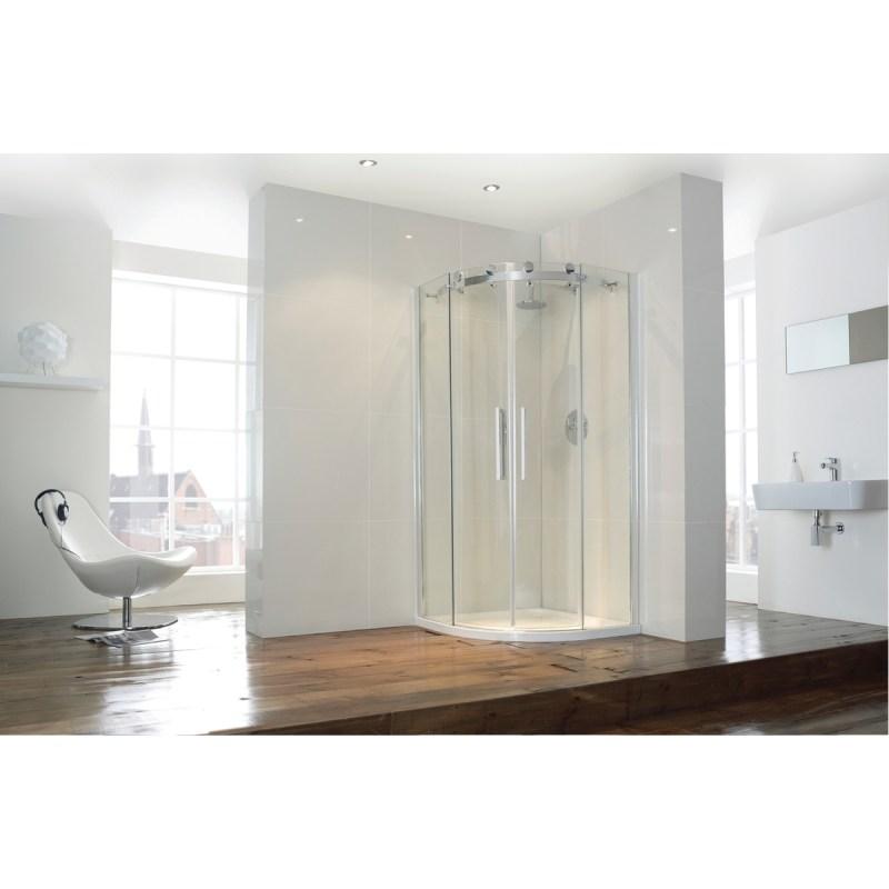 Aquaglass  Frameless 1200x800mm 2 Door Offset Quadrant