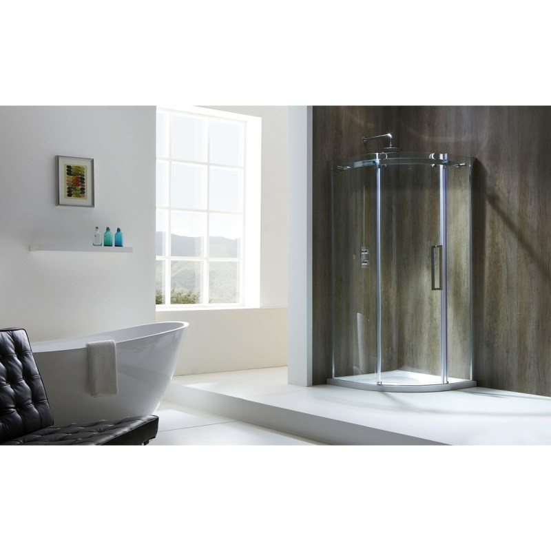 Aquaglass  Frameless 1200x900mm Offset Quadrant LH