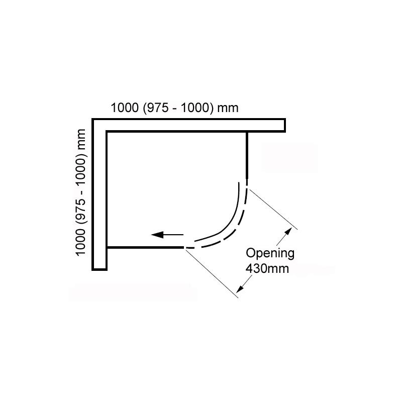 Aquaglass  Frameless 1000x1000mm 1 Door Quadrant Enclosure