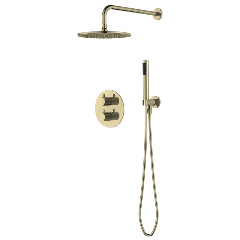 Aquaflow Mineral Round Shower Pack Brushed Brass