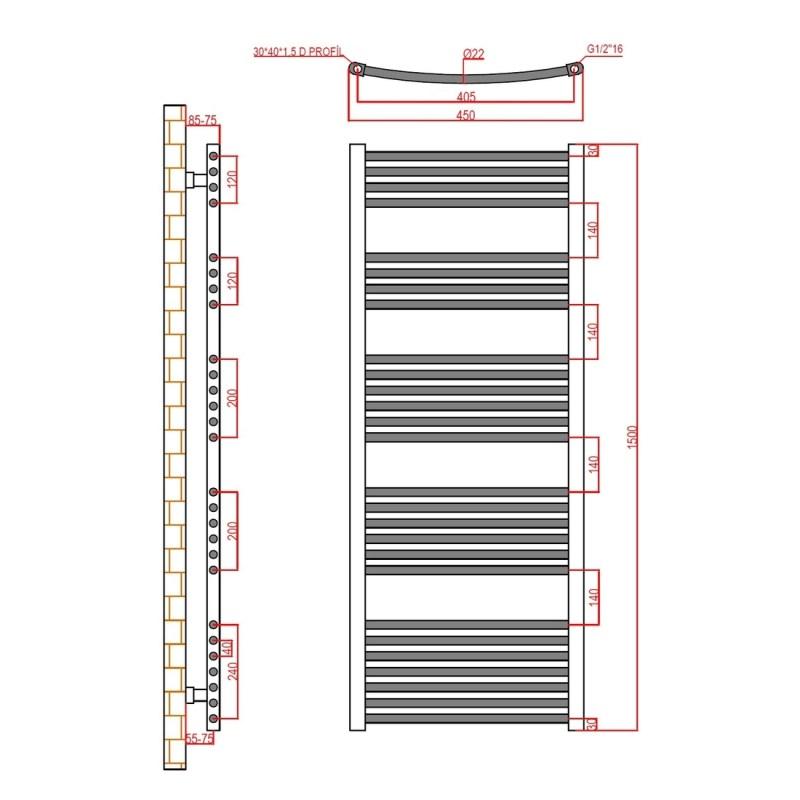 Frontline Curved Towel Rail 450x1500mm Chrome
