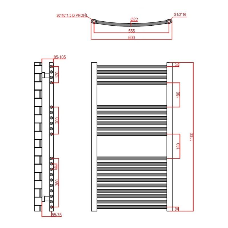 Frontline Curved Towel Rail 600x1100mm Chrome
