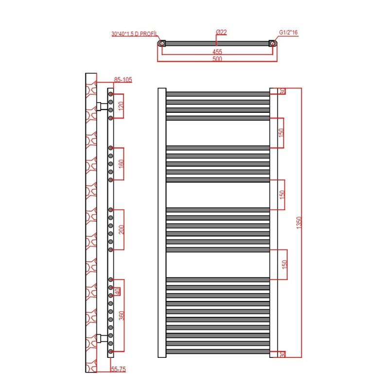 Frontline Flat Towel Rail 500x1350mm Chrome