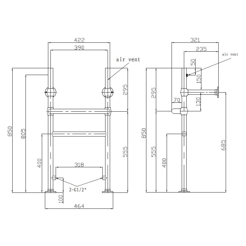 Holborn Heated Washstand 500x970mm Chrome
