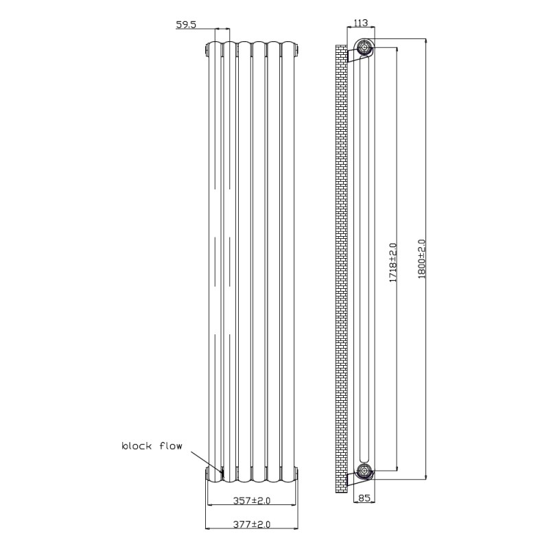 Frontline Adare Radiator 377x1800mm White