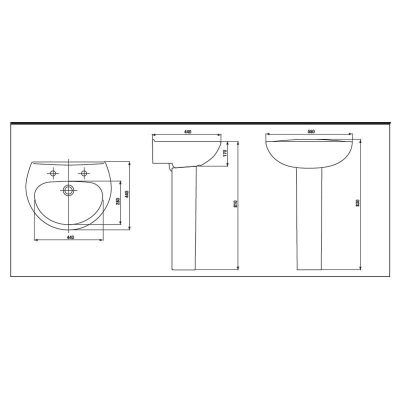Aquaceramica Xclusive 2 Tap Hole 550mm Basin & Pedestal