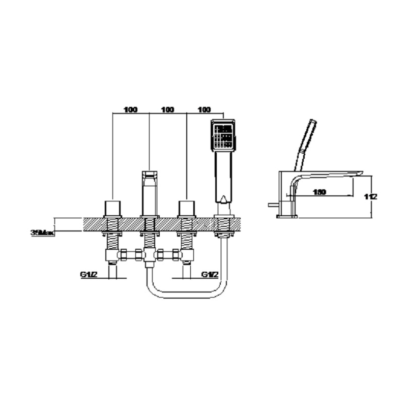 Aquaflow Sabre 4 Hole Bath Shower Mixer