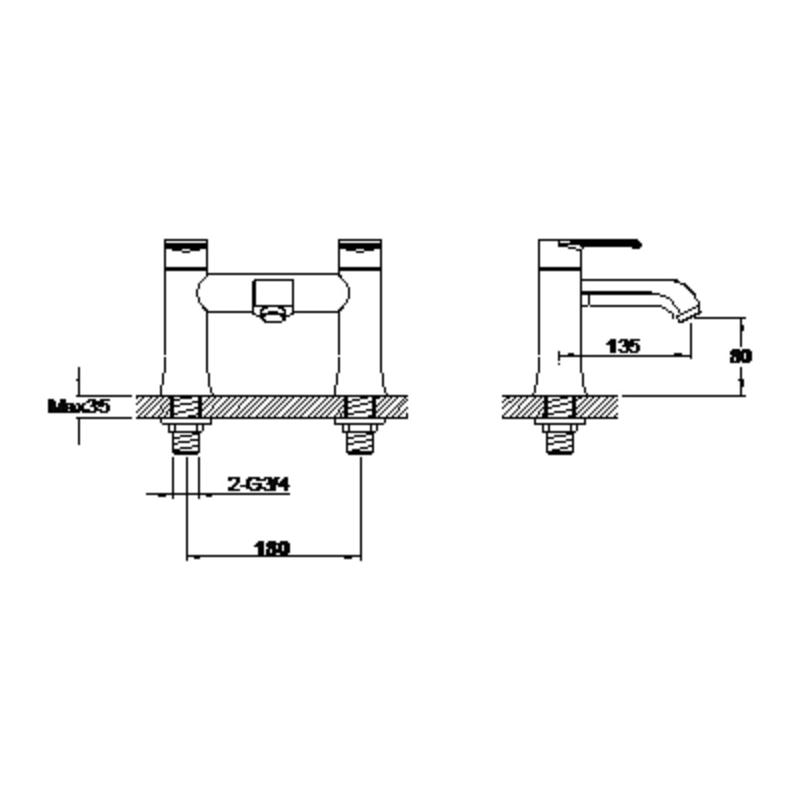 Aquaflow Basque Lever-Handle Bath Filler