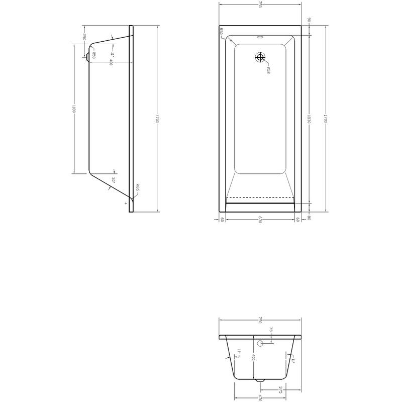 Aquabathe Medici 1700 x 750mm Bath