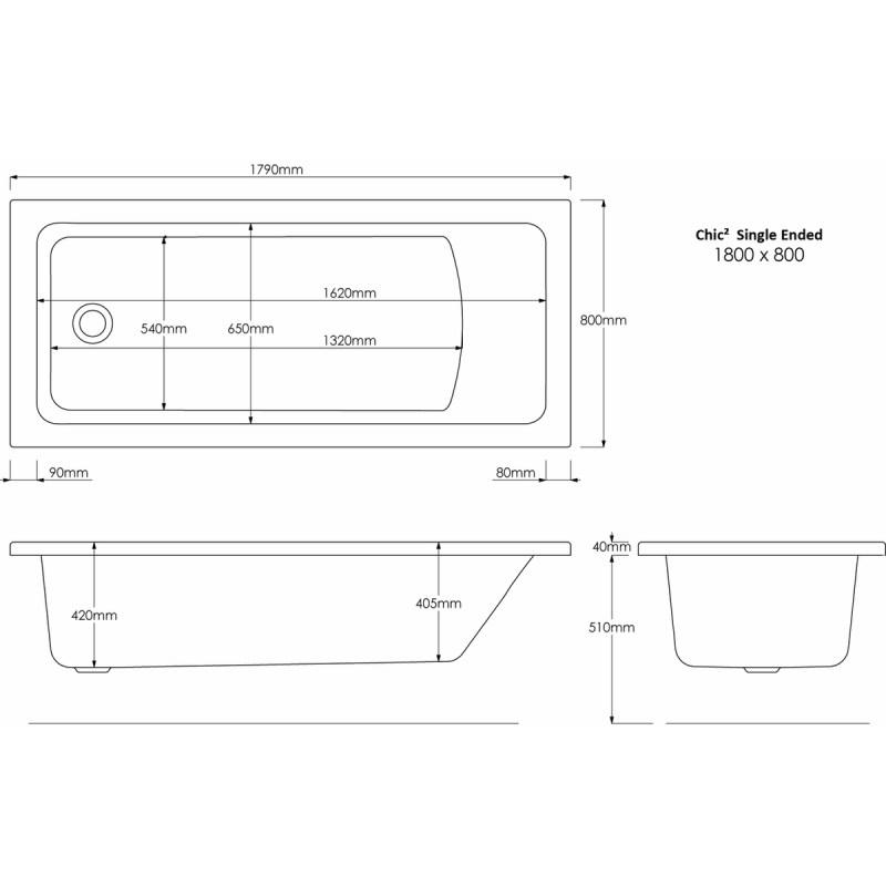 Aquabathe Chic2 1800x800mm Tungstenite Bath