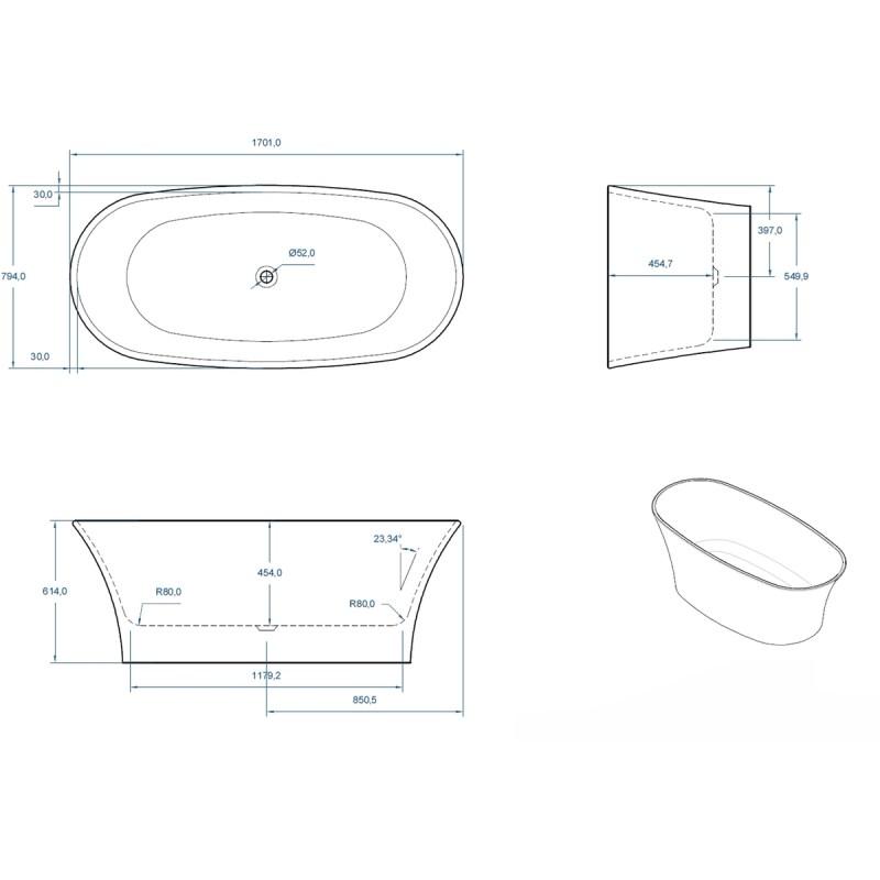 Aquabathe Ion 1700x800mm Twin Skinned Luxury Freestanding Bath