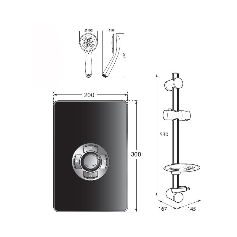 Frontline Aspirante Electric Shower Black Gloss 8.5kW