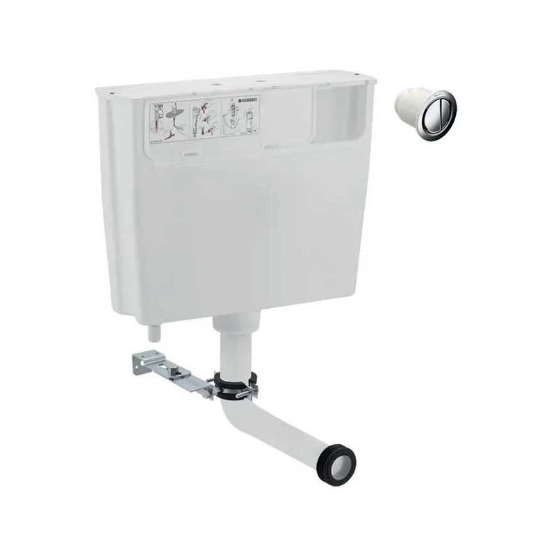 Geberit Low Height Furniture Cistern 6/3 Litre & Chrome Flush Button