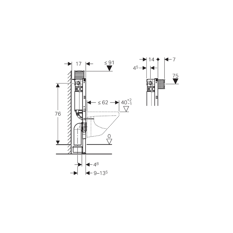 Geberit Duofix Frame with Omega Cistern 12cm, Height 82cm