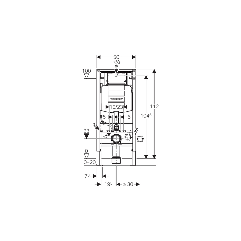 Geberit Duofix Frame for Wall-Hung WC, H112, with UP320