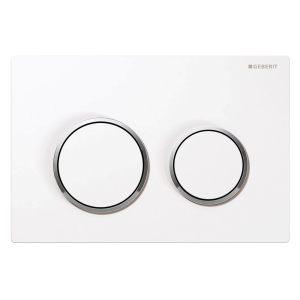 Geberit Omega20 Flush Plate White & Gloss Chrome