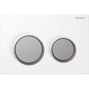 Geberit Omega20 Flush Plate White & Matt Chrome