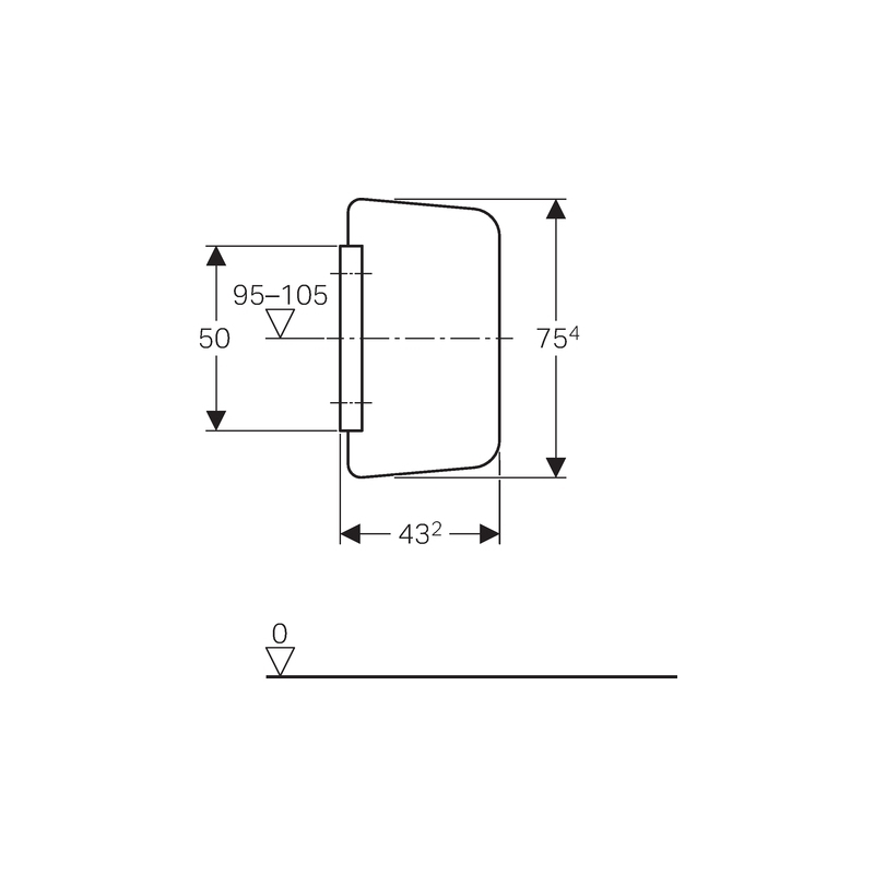 Geberit Urinal Division Glass Light Grey RAL 7035