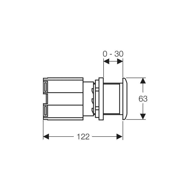 Geberit Finger Push WC Flush Control with Actuator, Metal