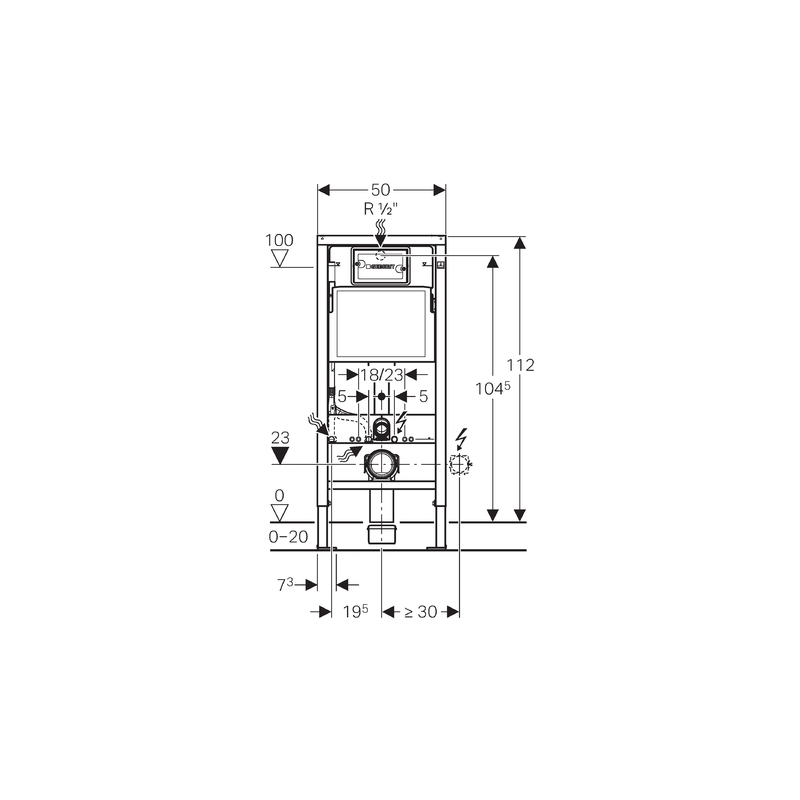 Geberit Duofix 112cm WC Frame with Delta21 Flush Plate