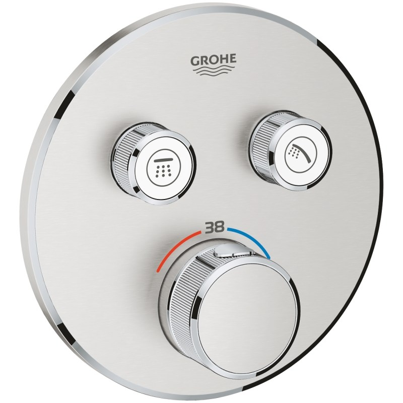 Grohe Smartcontrol Thermostat Trim with 2 Valves 29119 Supersteel