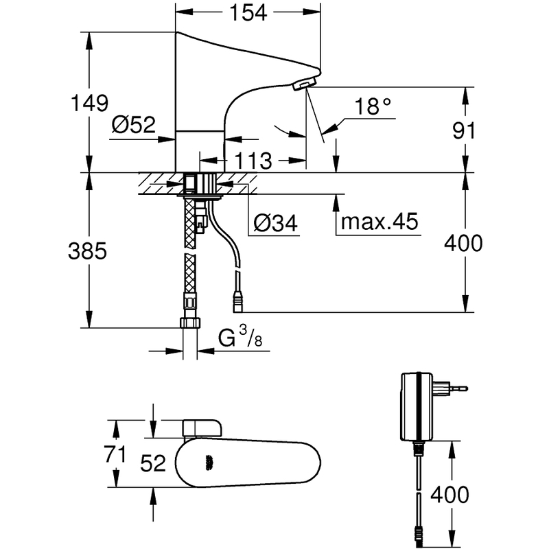 Grohe Europlus E Infra-Red Basin Mixer with Mixing Device Mains