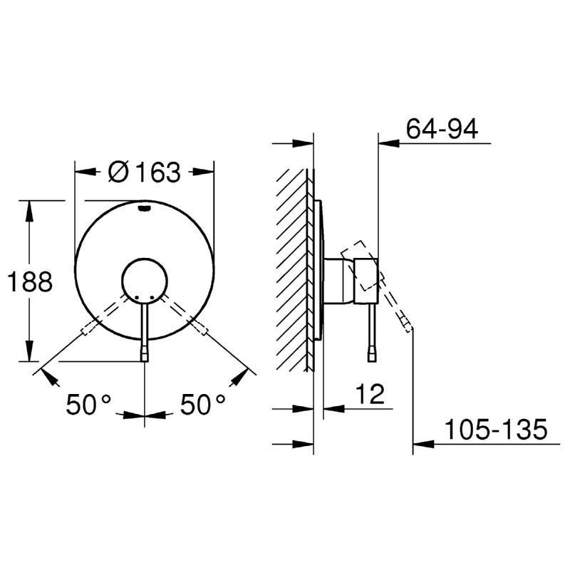 Grohe Essence Single-Lever Shower Mixer Trim 19286 Chrome