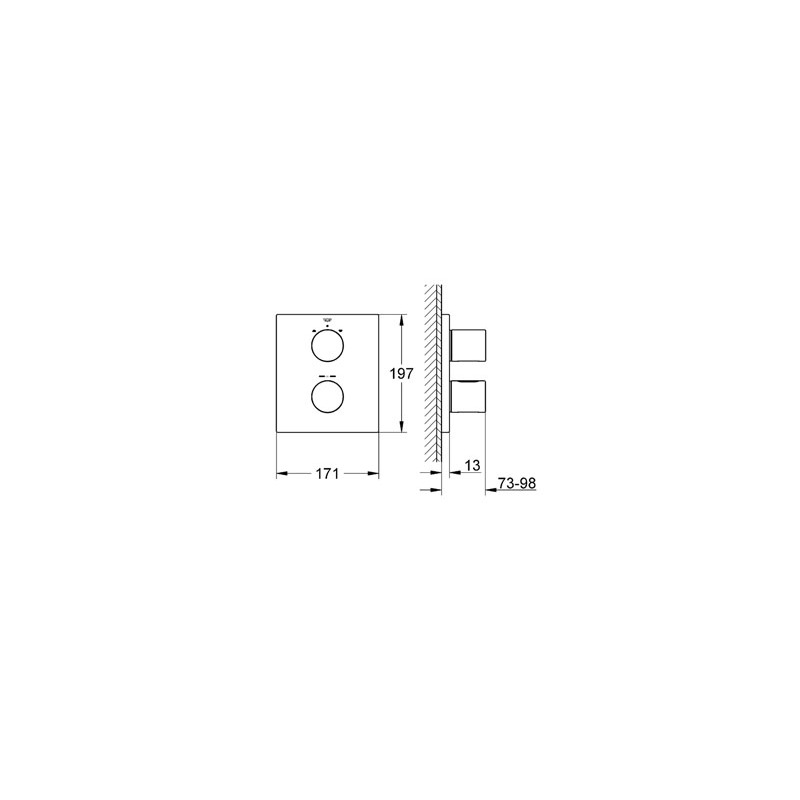 Grohe Grohtherm 3000 Cosmopolitan Thermostat with Diverter 19962