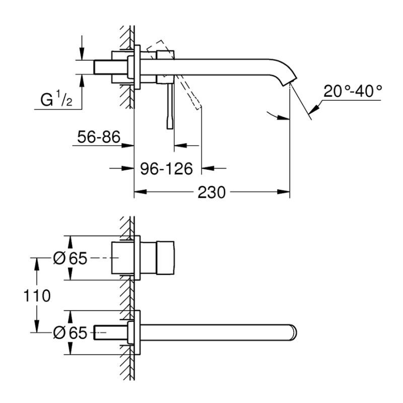 Grohe Essence 2-Hole Basin Mixer Tap 19967 Brushed Hard Graphite