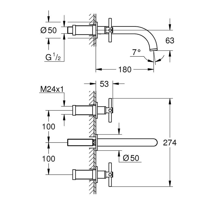 Grohe Atrio 3 Hole Wall Basin Mixer S-Size 20164