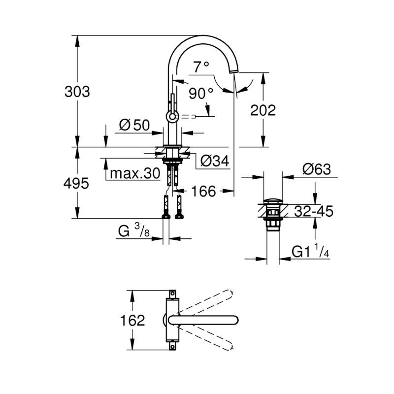 Grohe Atrio Lever Handle Basin Mixer L-Size 21022
