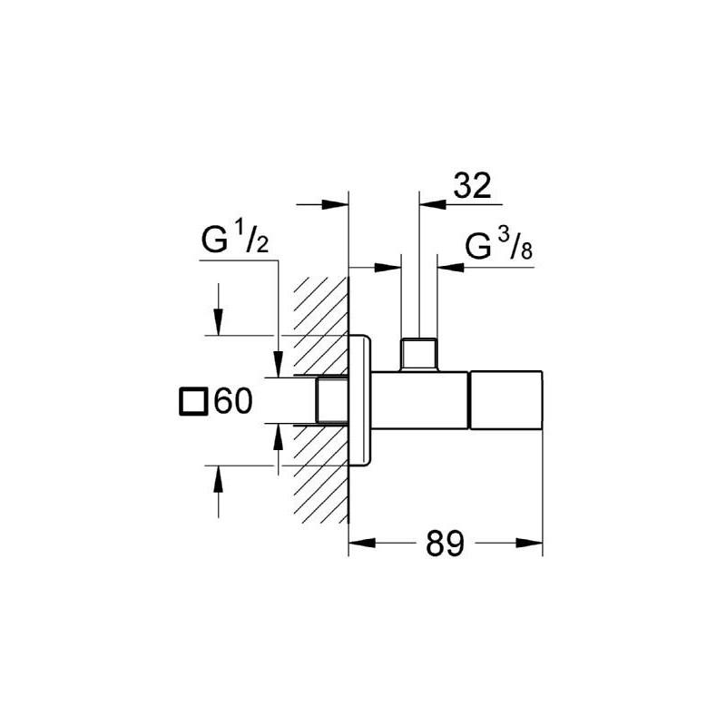 """Grohe Eurocube Angle Valve 1/2"""" 22012"""