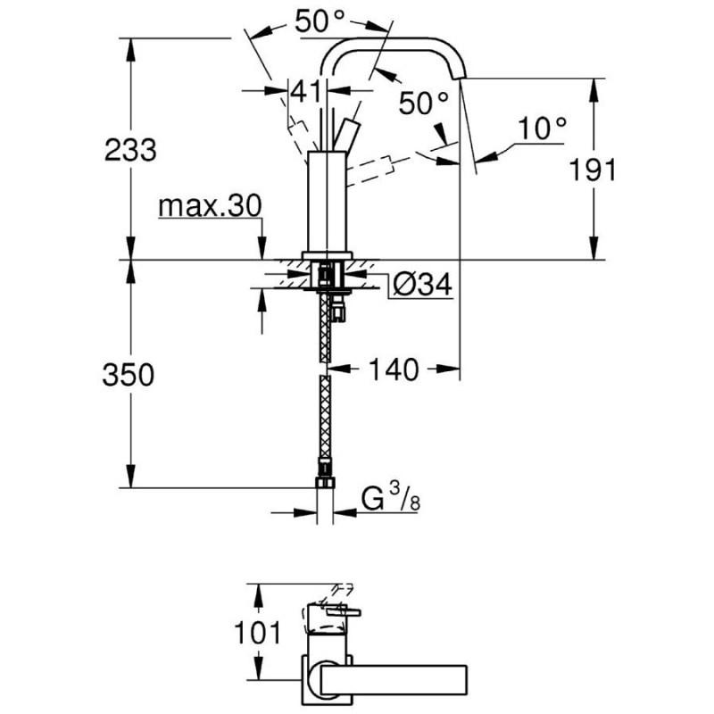 "Grohe Allure Single-Lever Mono Basin Mixer 1/2"" Large 23076"