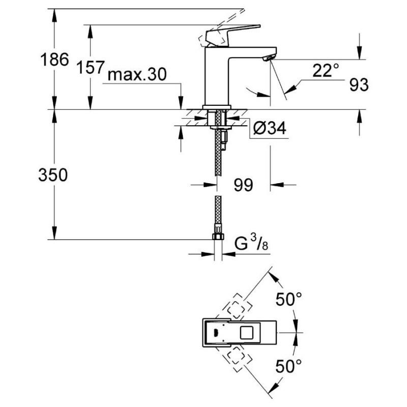 """Grohe Eurocube Mono Basin Mixer Smooth Body 1/2"""" Small 23132"""
