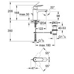 "Grohe Eurosmart Cosmopolitan Mono Basin Mixer 1/2"" Medium 23325"