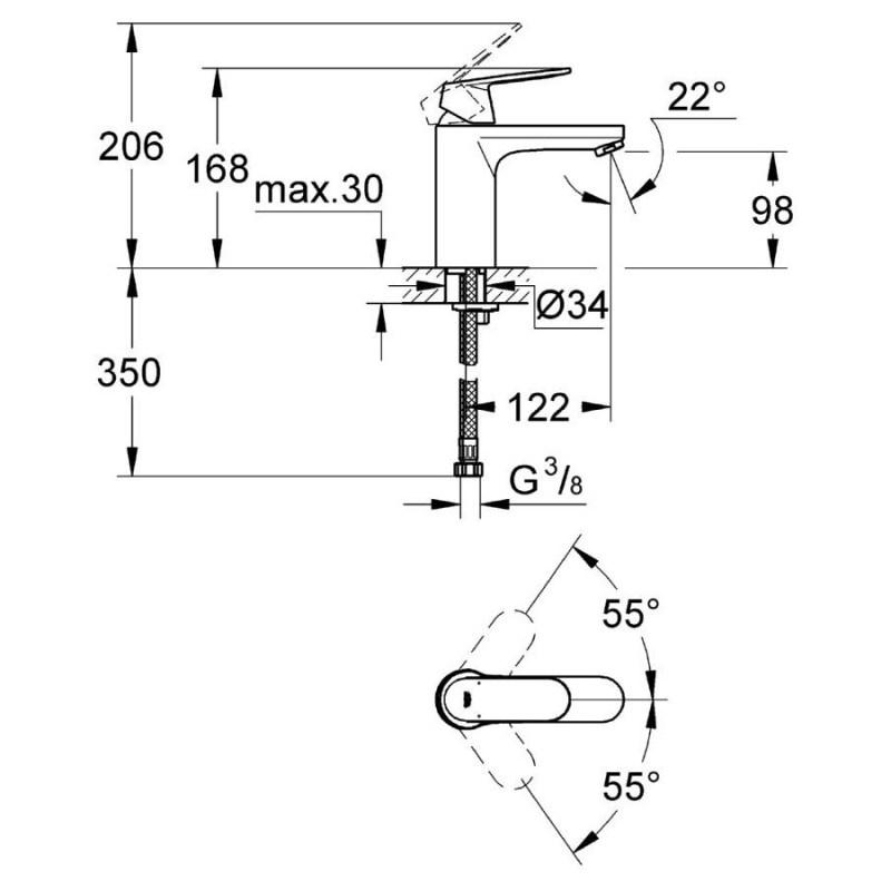 "Grohe Eurosmart Cosmopolitan Mono Basin Mixer 1/2"" Medium 23327"